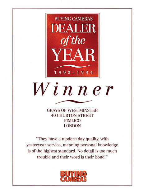 Buying Cameras Dealer of the Year Award 1993-1994