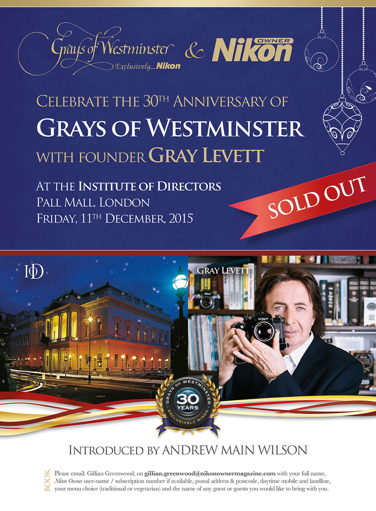 Celebrate the 30th Anniversay of Grays of Westminter with Founder Gray Levett
