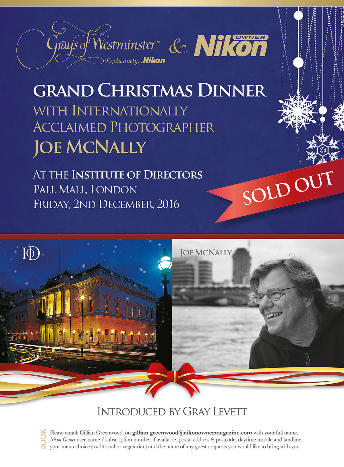 Grand Christmas Dinner with Internationally Acclaimed PhotographerJoe McNally