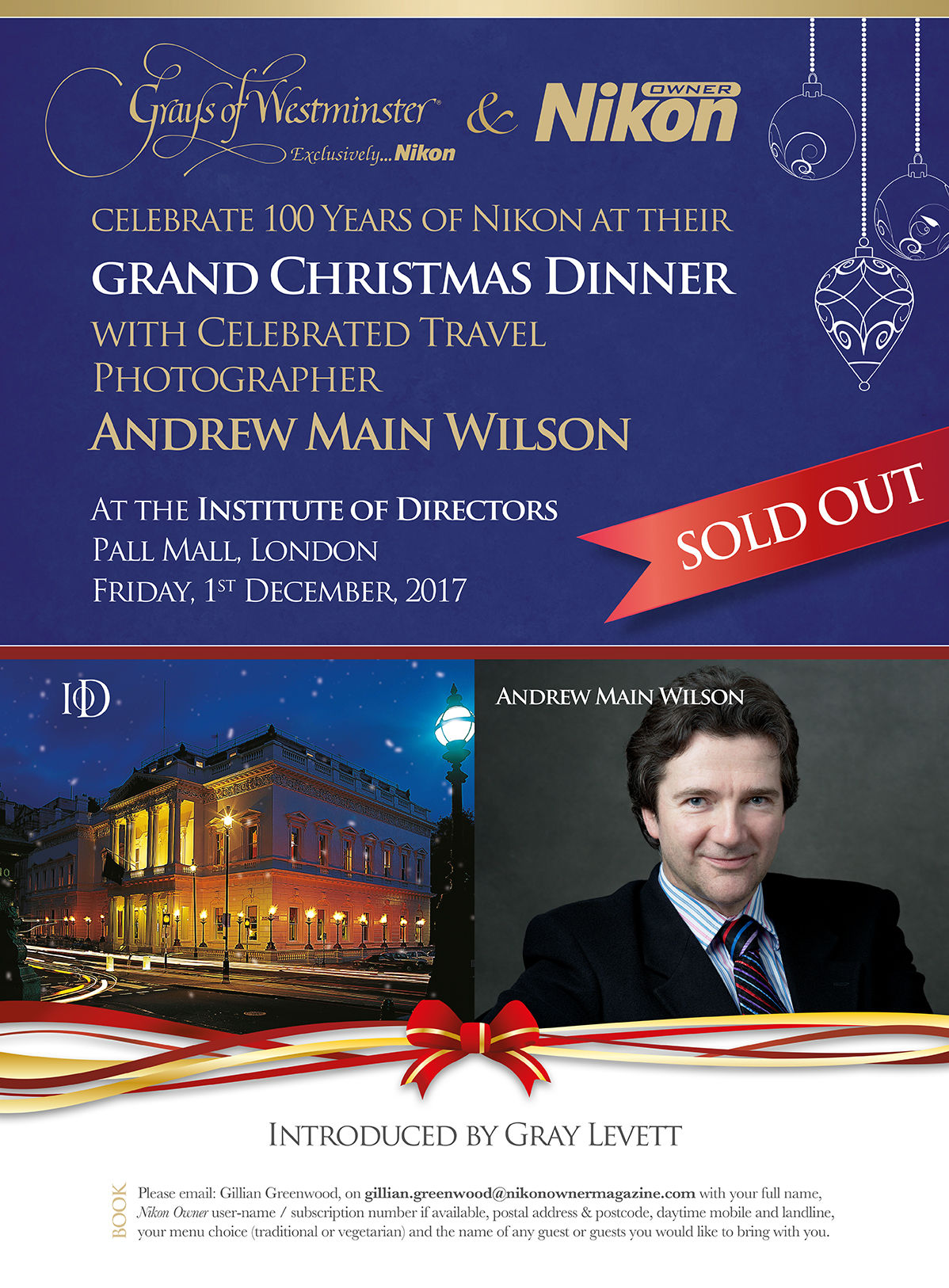 Grand Christmas Dinner with Celebrated Travel Photographer Andrew Main Wilson