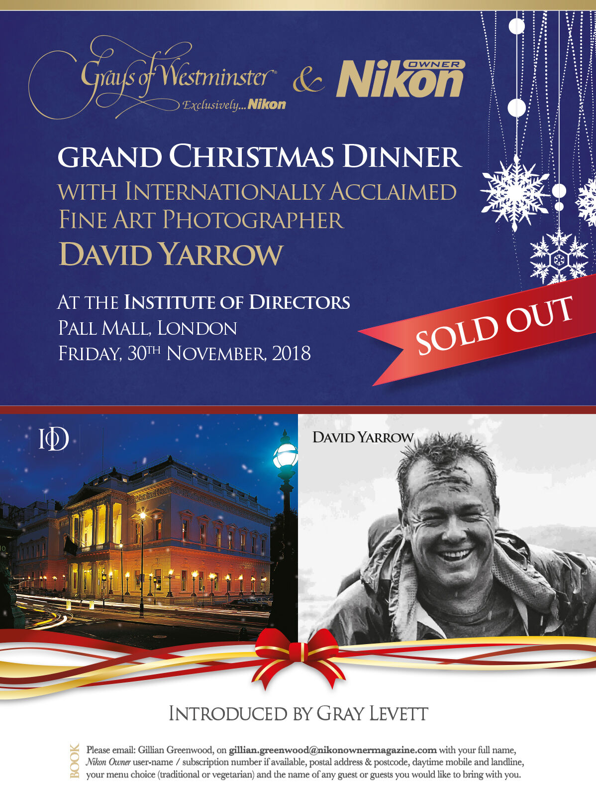 Grand Christmas Dinner with Internationally Acclaimed Fine Art Photographer David Yarrow