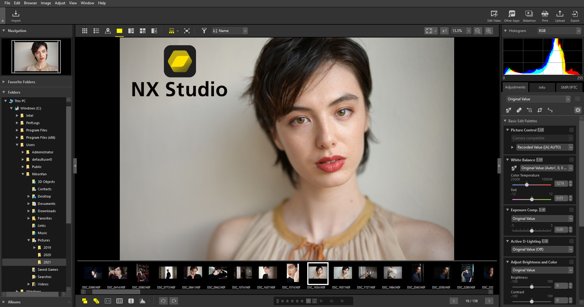 Nikon NX Studio screenshot